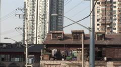 Shanghai backstreet view, apartments, China Stock Footage