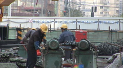Construction machinery, workers, China Stock Footage