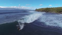Aerial shot of sufers in Hawaii  Stock Footage