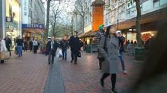 People walking in New Street Birmingham Uk - stock footage