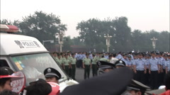 Chinese police, Olympic crowd, Beijing China Stock Footage