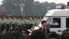 Chinese military soldiers, Olympic crowds Stock Footage