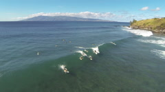 Aerial shot of sufers in Hawaii. Stock Footage