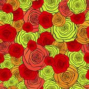 Seamless pattern with beautiful red and yellow roses - stock illustration