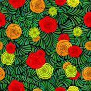 Stock Illustration of Seamless pattern with beautiful roses and abstract green grass
