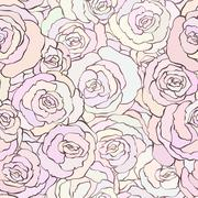 Seamless pattern with beautiful roses in soft pastel pink colors - stock illustration