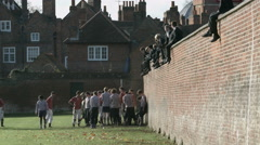 Eton Wall Game St Andrews Day 2015. Mid shot along wall. Stock Footage