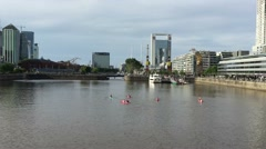 Stock Video Footage of Kayaks recreation in Madero Harbor Buenos Aires City