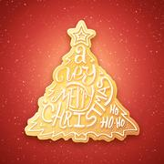 Very Merry Christmas lettering on gingerbread - stock illustration