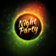 Vector colorful flyer premium template for night party with bokeh lights - stock illustration