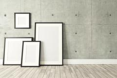 Black picture frames decor with concrete wall, background, template design Stock Illustration