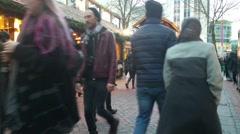 Birmingham's Frankfurt Christmas Market and Craft Market in Uk Stock Footage