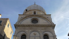 View of Santa Maria dei Miracoli Church with round window and dome in Venice Stock Footage