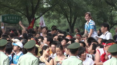 Chinese soldiers, crowd control, Olympics Stock Footage