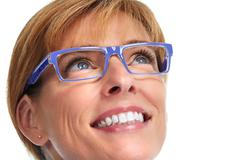 Woman face with eyeglasses. Stock Photos
