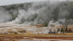 Time lapse Old Faithfull area Geysers  at Yellowstone National Park - stock footage