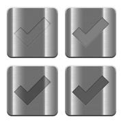 Metal Ok buttons - stock illustration