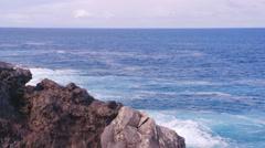 Ocean Rocks Sky Slowmotion Colourfull Stock Footage
