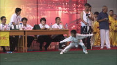 Young Chinese boy, kung fu moves, China Stock Footage