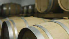 Whisky barrels maturing in a distillery Stock Footage