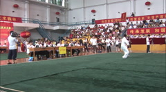 Chinese wushu martial arts competition Stock Footage