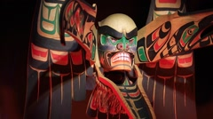 First nation wooden mask, dramatic - stock footage