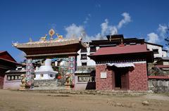 Gate of Thyangche Dongak Thakchok Chholing buddhist monasteryin Tengboche, Nepal - stock photo