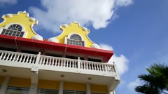 Pan from a traditional building in Oranjestad on Aruba Stock Footage