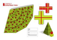 Vector DIY pattern for a Christmas tree and boxes Stock Illustration