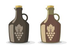 Vector set of two wine bottles Stock Illustration
