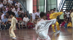 Chinese boys, wushu, martial arts, China Stock Footage