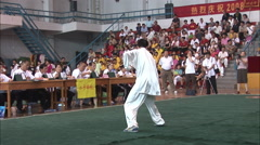 Chinese man, martial arts competition Stock Footage