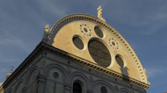 Statues and rosettes on Chiesa Santa Maria dei Miracoli, Venice Stock Footage