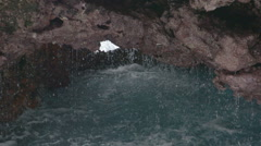 Water Rocks Hole in South Atlantic St. Helena Slowmotion Stock Footage