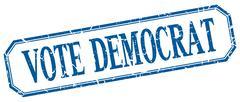 Vote democrat square blue grunge vintage isolated label Stock Illustration