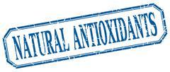 Stock Illustration of natural antioxidants square blue grunge vintage isolated label
