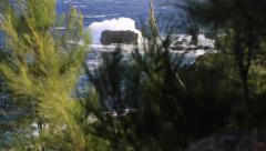 Black rock in  ocean, scenic view, Waianapanapa state park, Hawaii Stock Footage
