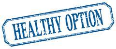healthy option square blue grunge vintage isolated label - stock illustration