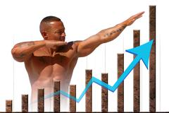 Strong market and economic strength graph with strong man Stock Photos