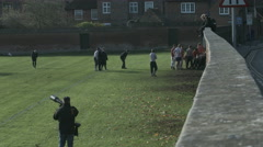 Eton Wall Game St Andrews Day 2015. Hand held view looking down the wall Stock Footage