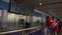Flight crew airport arrival, Beijing, China Stock Footage