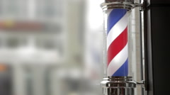 Barber's Pole Spinning at the Barbershop. Stock Footage