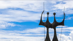 Timelapse View of Dois Candangos Monument in Brasilia, Brazil Stock Footage