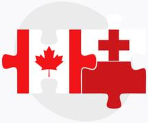 Canada and Tonga Flags Stock Illustration