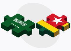 Saudi Arabia and Togo Flags Stock Illustration