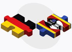 Germany and Swaziland Flags Stock Illustration