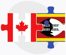 Canada and Swaziland Flags - stock illustration
