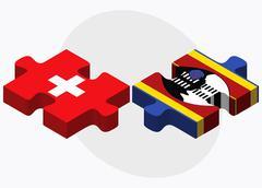 Switzerland and Swaziland Flags - stock illustration