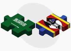 Saudi Arabia and Swaziland Flags - stock illustration