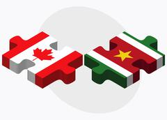 Canada and Suriname Flags Stock Illustration